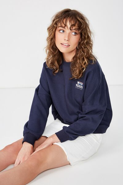 Harper Boxy Crew Graphic Fleece, NEUE YOUTH SPORTSWEAR/MOOD INDIGO