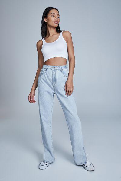 Straight Split Jean, HENLEY BLUE