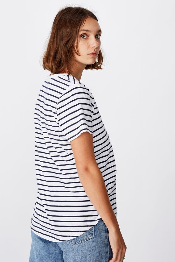The One Scoop Tee, COLE STRIPE WHITE/MOONLIGHT