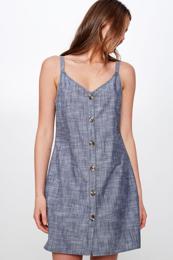 Woven Margot Slip Dress, CROSS HATCH CHAMBRAY