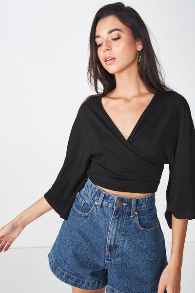 Jude Kimono Sleeve Top, BLACK TEXTURE