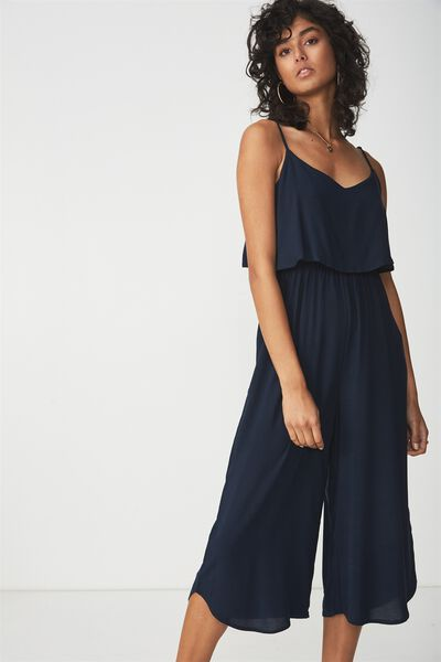 Woven Maddie Strappy Jumpsuit, NAVY