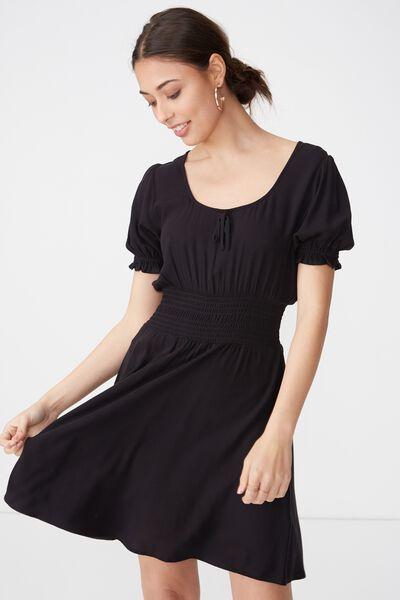 Woven Hazel Prairie Cap Sleeve Dress, BLACK