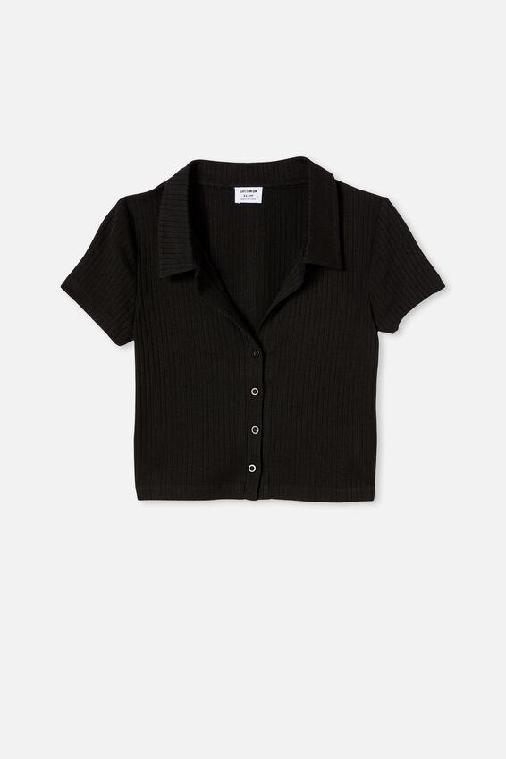 Mila Polo Short Sleeve, BLACK