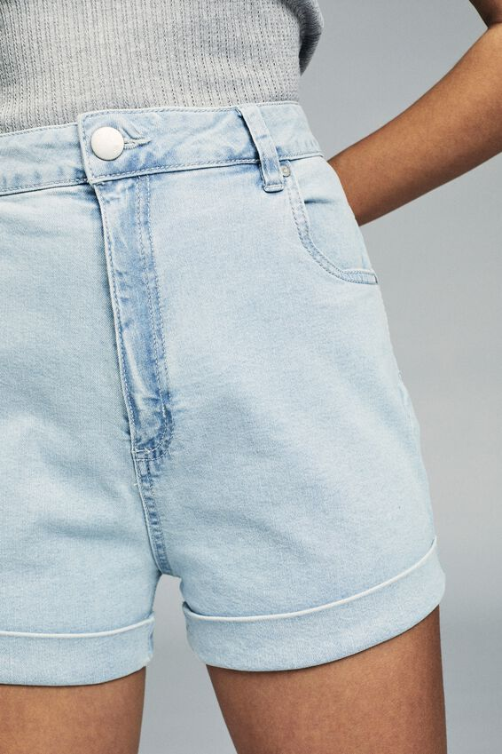 High Rise Classic Stretch Denim Short, BABY BLUE