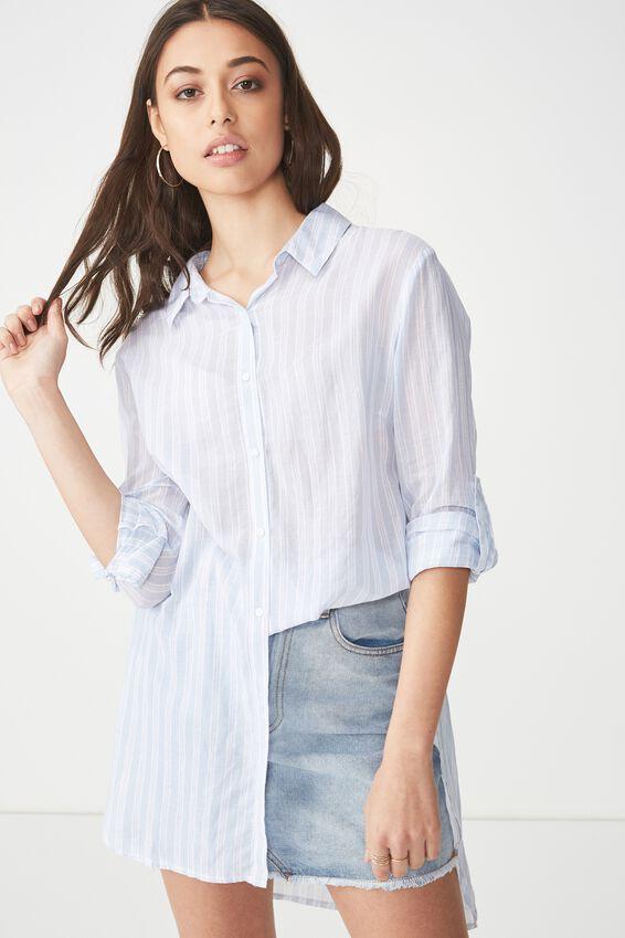 Longline Fashion Shirt, ANGEL FALLS STRIPE