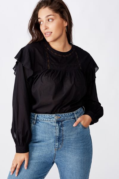 Curve Smock Lace Blouse, BLACK