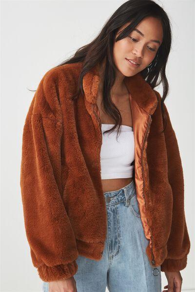 Batwing Faux Fur Jacket, RUST