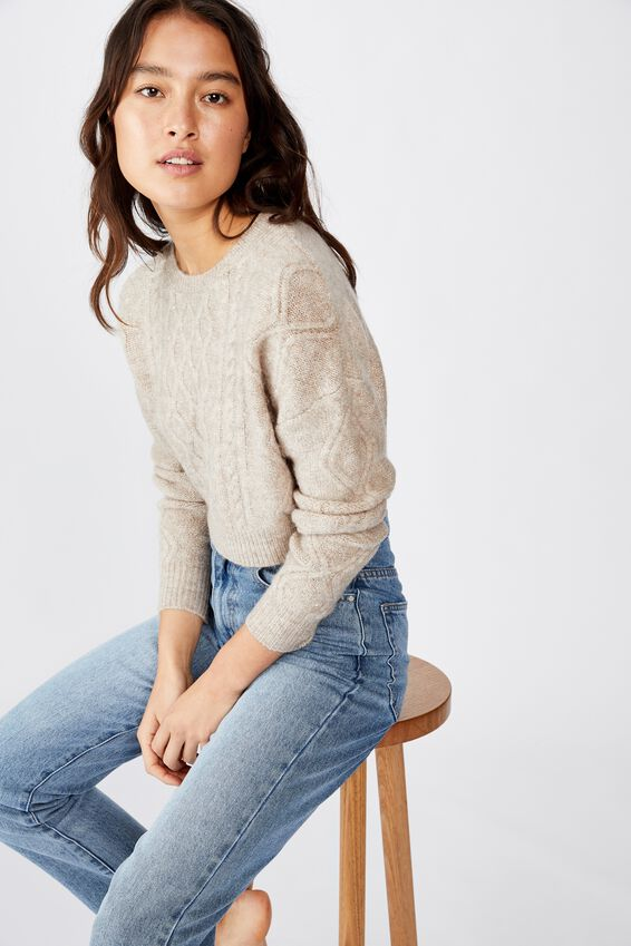 Cable Cropped Crew Neck, OATMEAL