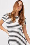 Essential Short Sleeve Midi Dress, COLE STRIPE WHITE/NAVY RIB