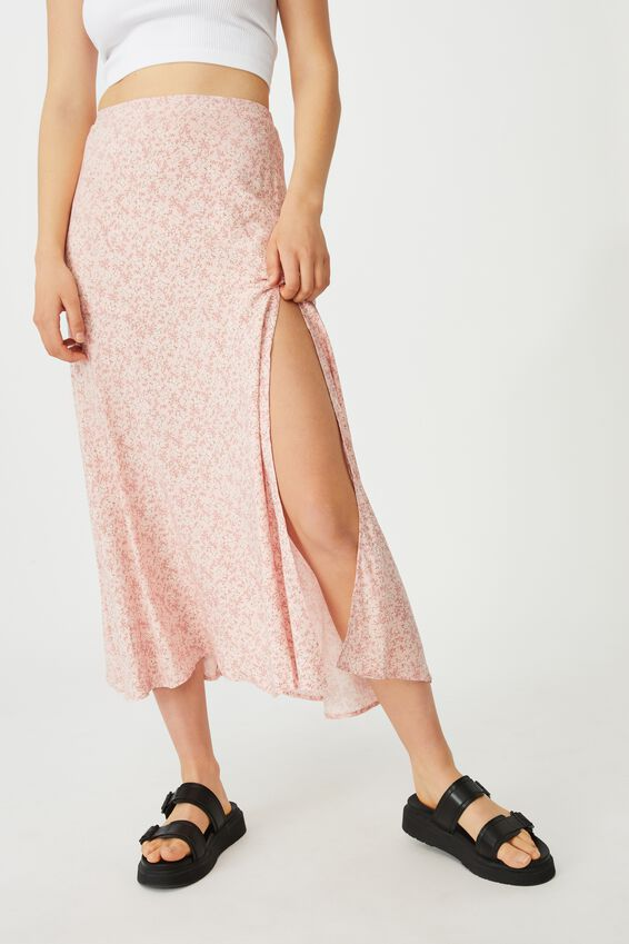 Alana Split Maxi Skirt, RAMONA SPRIG CLASSIC PINK
