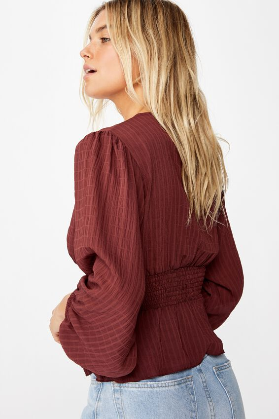 Hazel Blouson Sleeve Blouse, RED MAHOGANY