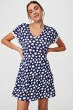 Ritchie Tiered Tunic Mini Dress, NOLA DAISY MEDIEVAL BLUE