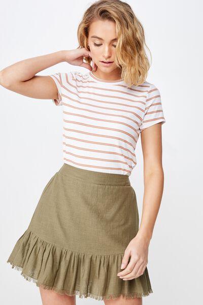 Woven Jordana Mini Skirt, BURNT OLIVE