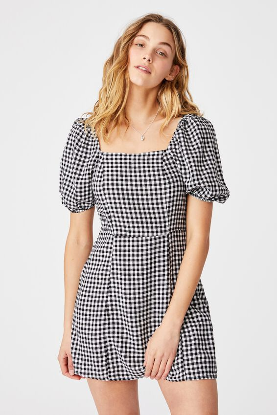Woven Leona Bell Sleeve Mini Dress, BETHANY GINGHAM BLACK