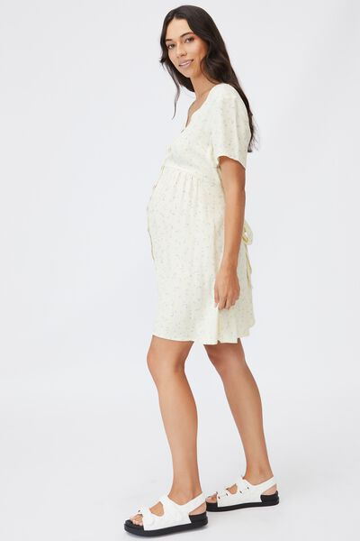 Maternity Woven Button Front Mini Dress, RIDDLE DITSY LEMON