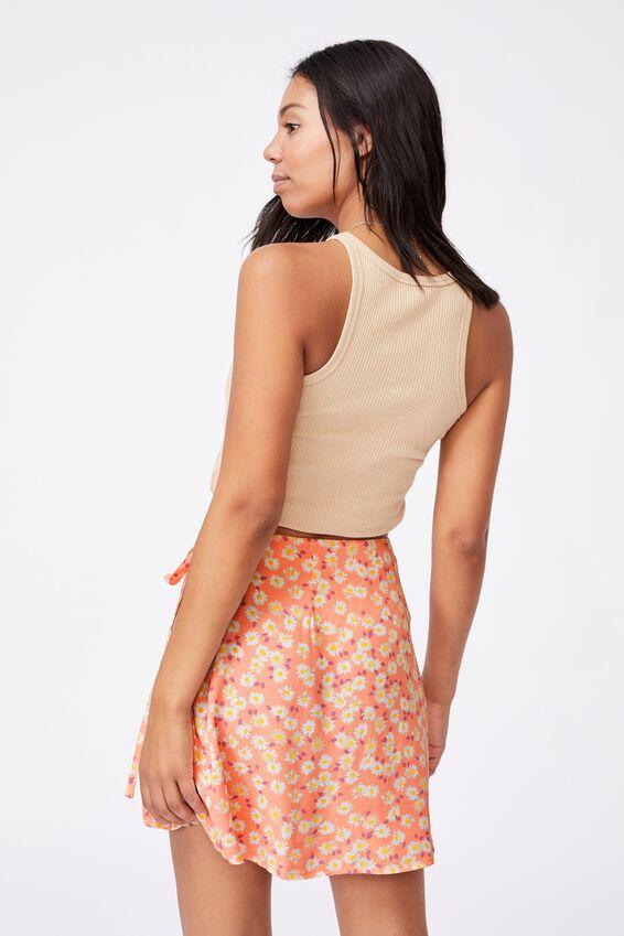 Drew Wrap Mini Skirt, SALLY DAISY PEACH PALM