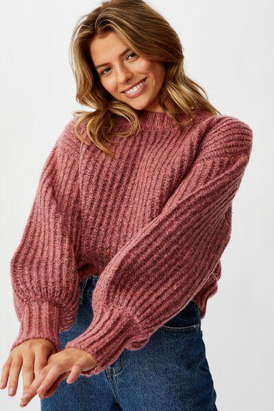 Blousson Sleeve Mock Neck Pullover, GARNET ROSE TWIST