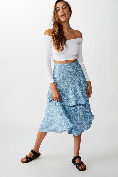 Eve Frill Midi Skirt, FRANKIE DAISY PROVINCIAL BLUE