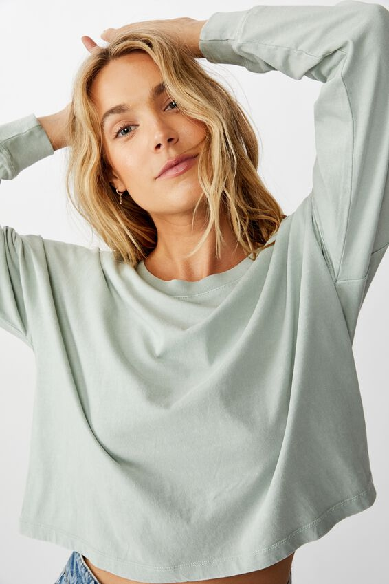 Harris Crew Neck Long Sleeve Top, WASHED CLOUD BLUE