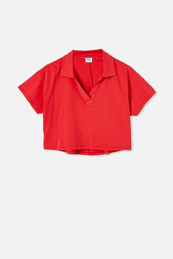 Ryan Short Sleeve Polo, WASHED LUCKY RED