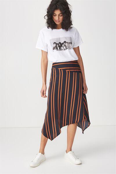 Woven Amy Assymetric Hem Midi Skirt, SALMA STRIPE DARK SAPPHIRE