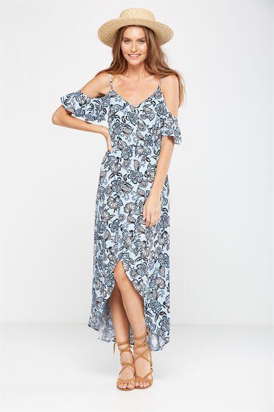 Woven Deb Cold Shoulder Maxi Dress, LAILA FLORAL CELESTIAL BLUE