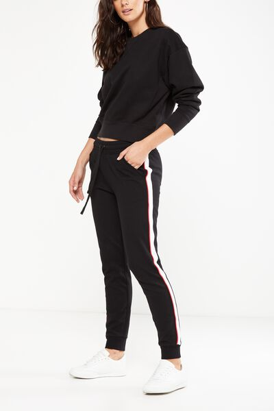Adele Trackpant, BLACK/RED WHITE PIPING
