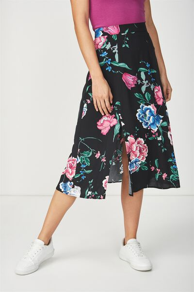 Woven Julia Split Midi Skirt, PENNY PINK