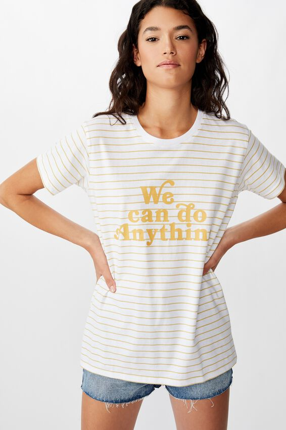 Classic Slogan T Shirt, WE CAN DO ANYTHING WHITE/COCOON STRIP