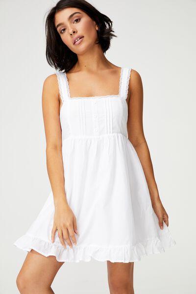 Woven Flora Frilly Pinny Mini Dress, WHITE