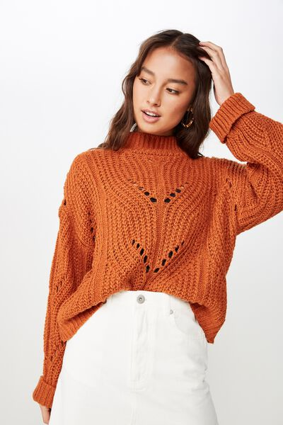 Perry Pointelle Mock Neck, RUST