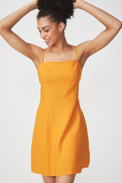 Woven Krissy Dress, DARK CHEDDAR- L