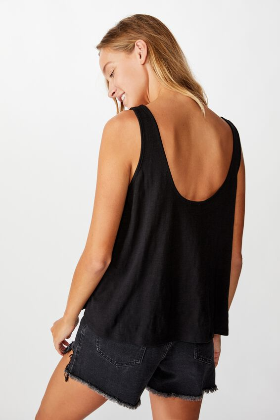 The Relaxed Scoop Tank, BLACK
