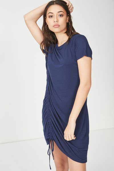 Tina Tshirt Dress 2, ROUCHED SPACE NAVY