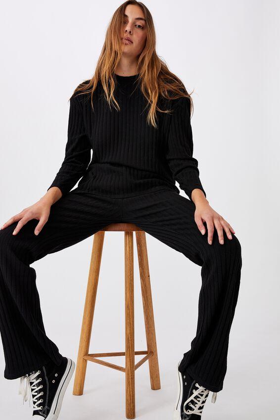 Renee Rib Long Sleeve Top, BLACK