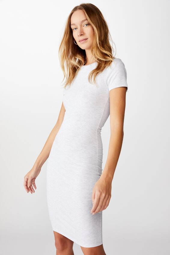 Essential Short Sleeve Midi Dress, LIGHT GREY MARLE