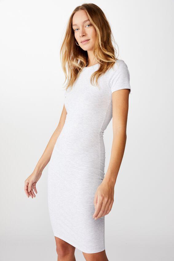 Essential Short Sleeve Bodycon Midi Dress, LIGHT GREY MARLE