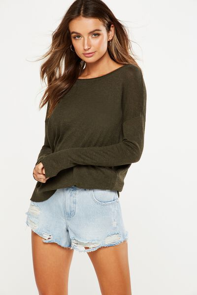 Everyday 2 Fine Gauge Pullover, KHAKI MARLE