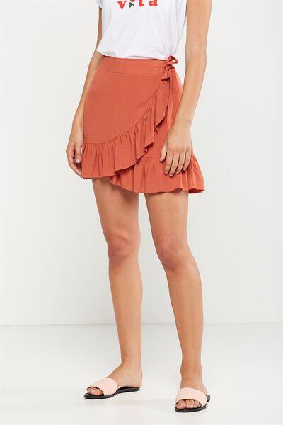 Woven Thea Wrap Mini Skirt, BURNT SIENNA
