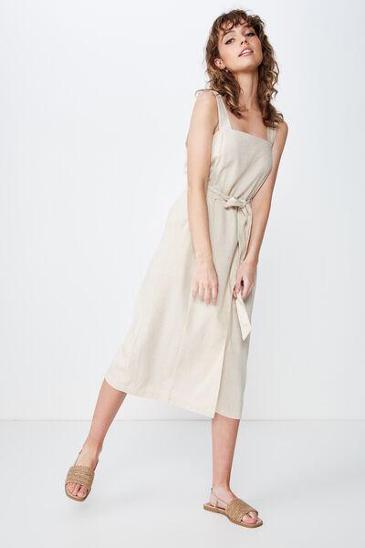 Woven Missy Utility Midi Slip Dress, LATTE MARLE