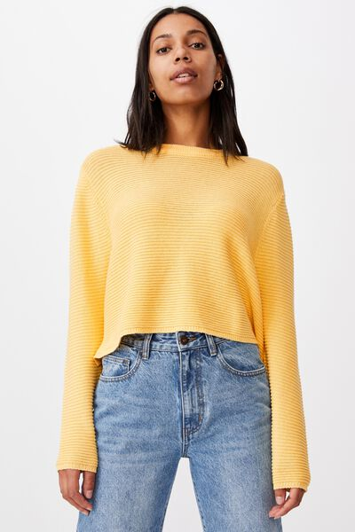 Cotton Cropped Pullover, CALI YELLOW