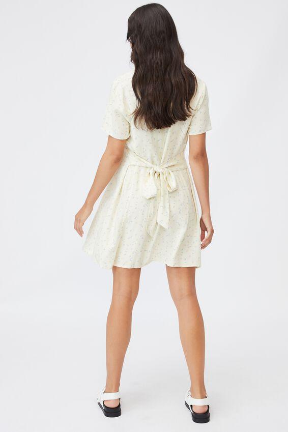 Maternity Woven Button Front Mini Dress, RIDDLE DITSY LEMON