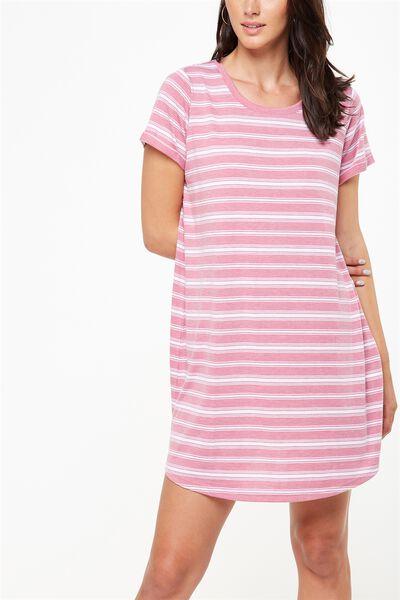 Tina Tshirt Dress 2, JAZZBERRY/WHITE VERTICAL LEXI STRIPE