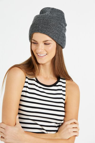 Metallic Threads Beanie, BLACK/SILVER