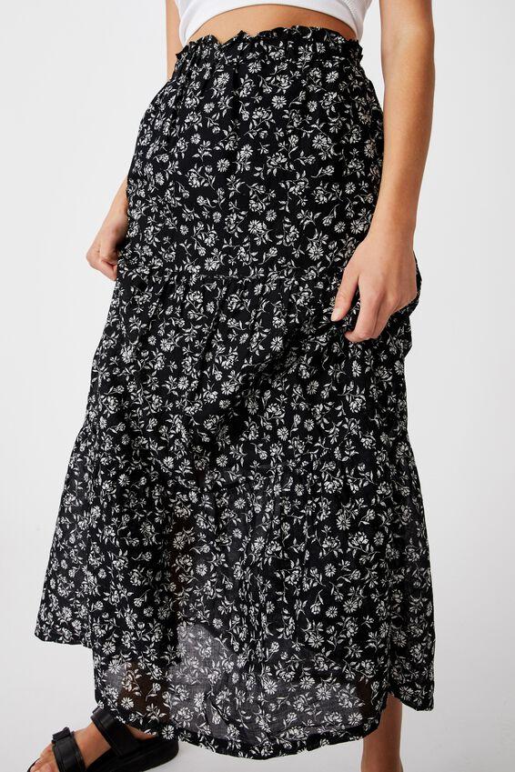 Float On Maxi Skirt, ALEX FLORAL BLACK