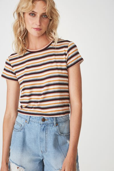 The Baby Tee, TRIBAL STRIPE GREY MARLE