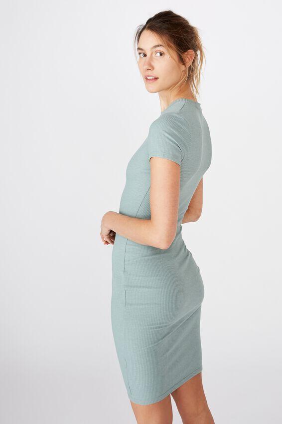 Essential Short Sleeve Bodycon Midi Dress, CHINOIS GREEN MARLE RIB