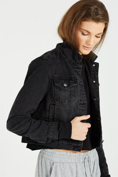 Girlfriend Denim Jacket, WASHED BLACK