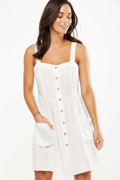 Woven Lollie Mini Dress, WHITE TEXTURE